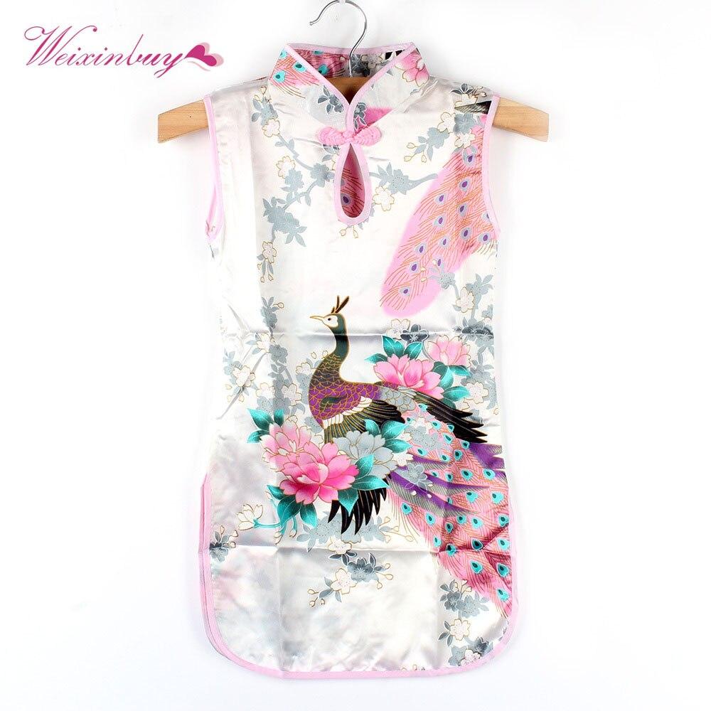 Горячая Китайский Малыш Ребенок Девочка Павлин платье Чонсам Ципао от 2 до 7 лет одежда