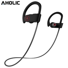 AHOLIC U8 Bluetooth Earphone With Microphone IPX7 Waterproof Sport Headset Noise Canceling Sport Wireless Bluetooth Headphone bluetooth cordless phone headset clip on ear headphone bluetooth earpiece noise canceling earphone with mic bluetooth safe