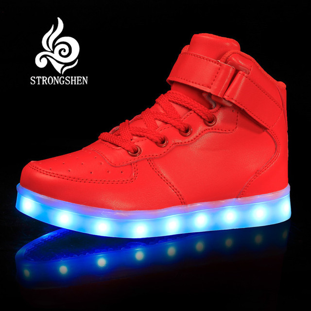 fe32a8b7e289 STRONGSHEN 2018 USB Charging Kids Sneakers Fashion Luminous Lighted  Colorful LED lights Children Shoes Casual Boy girl Shoes
