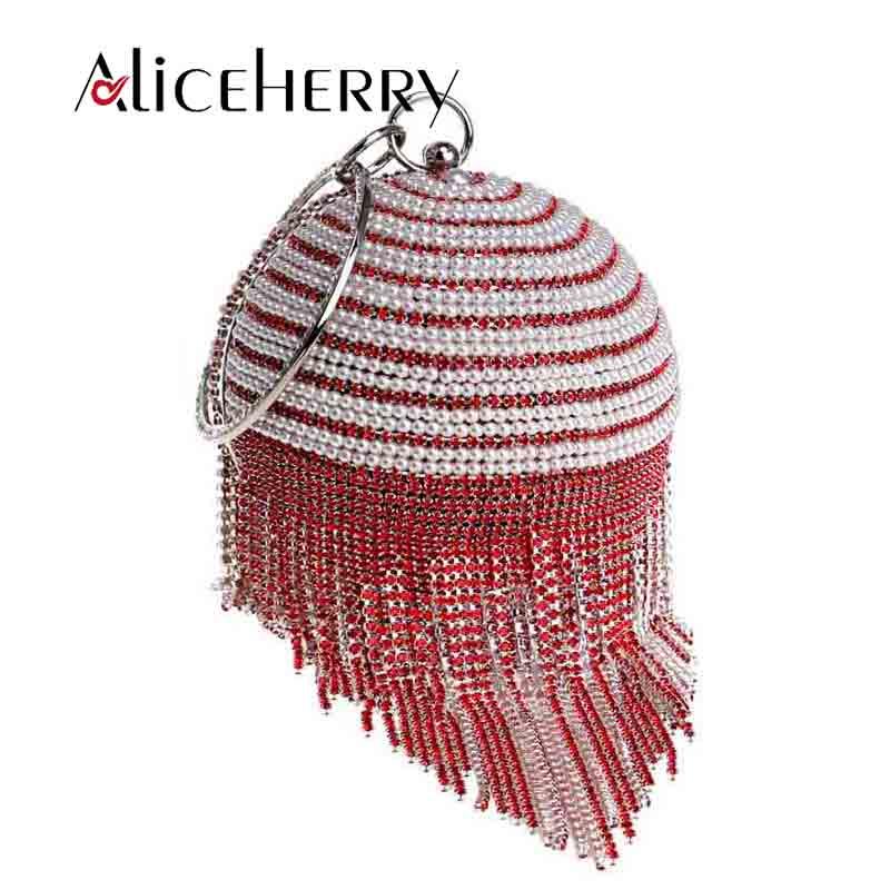 Nouvelle arrivée femmes sac de soirée ronde perle diamants dîner fête de mariage embrayage de haute qualité marque glands épaule sac à main rouge