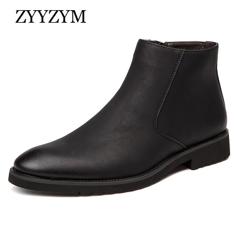 ZYYZYM Men Boots Split Leather Spring Autumn Zip Retro Style Classic Men Motorcycle Boots British Boots Men Superior Quality
