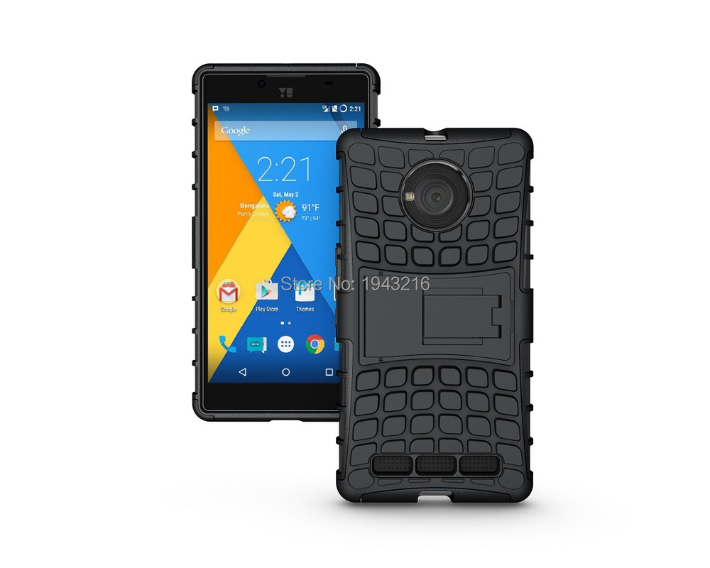 100pcs 2 in 1 Shock Proof Heavy Duty Dual Layer Hybrid Armor Rugged Kickstand Case For Micromax yu yuphoria Phone Cover Cases