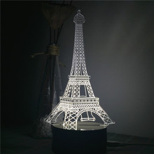 3D LED Night Light Acrylic Eiffel Tower LED Night Light Touch Switch Colorful Gradient Novelty Lighting Table lamp Home Decor