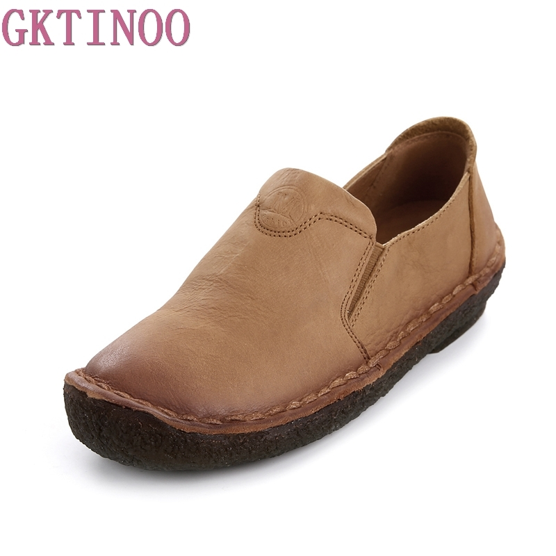GKTINOO 2018 NEW Fashion Loafers Comfortable Women Shoes Casual Work Driving Shoes Women Flats Genuine Leather Flat Lady Shoes women s shoes 2017 summer new fashion footwear women s air network flat shoes breathable comfortable casual shoes jdt103