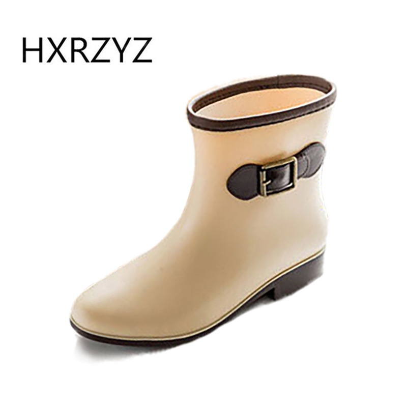 Boots women 2017 Spring/autumn and summer Woman Fashion Rain Boot Non-slip Beige and black Rubber Boots And ankle rain shoes  water shoes spring and autumn woman warm rain shoes and ankle rain boots lady waterproof fashion rubber boots
