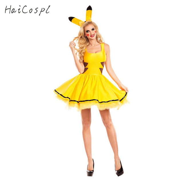 3b8eec223c8a5 Pikachu Costume Halloween Women Fancy Dress Sexy Cute Anime Cosplay Party  Wear Girls Holiday Festival Dance Clothes For Adult