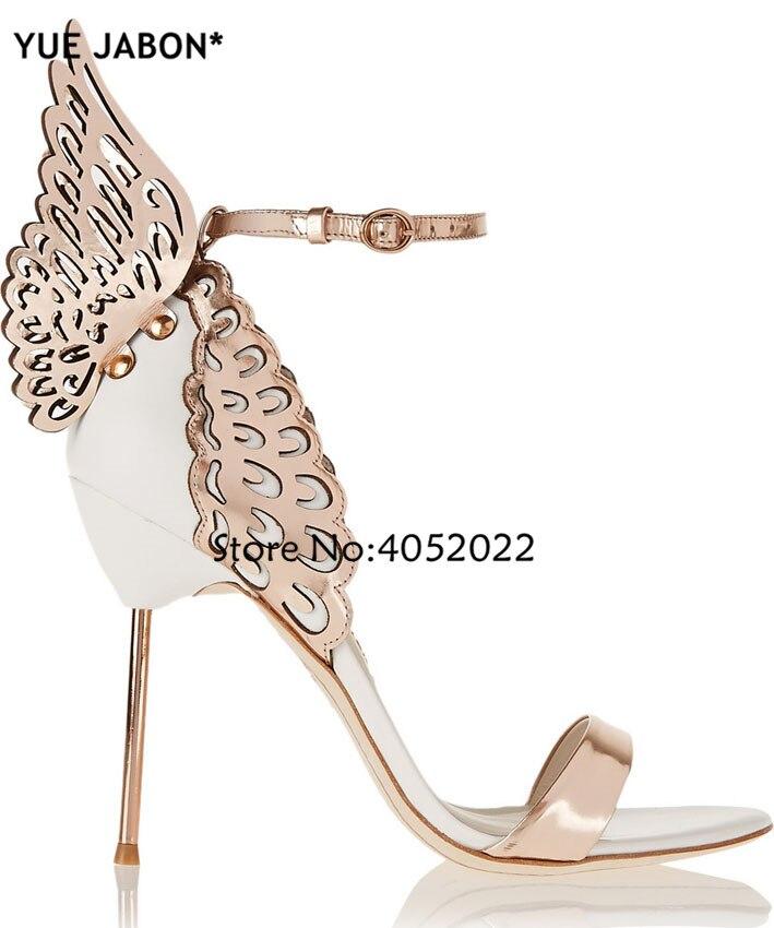 YUE JABONที่มีสีสันโลหะปักหนังรองเท้าแตะแองเจิลปีกปั๊มรองเท้าพรรคผีเสื้อข้อเท้าตัดรองเท้าส้นสูง-ใน รองเท้าส้นสูง จาก รองเท้า บน   2