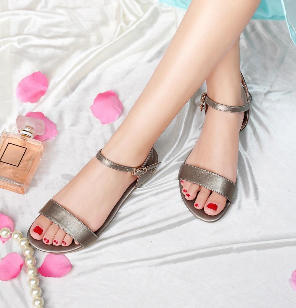 HTB10lGNoWSWBuNjSsrbq6y0mVXag MORAZORA Plus size 34-46 New genuine leather sandals women shoes fashion flat sandals cow leather summer rhinestone ladies shoes