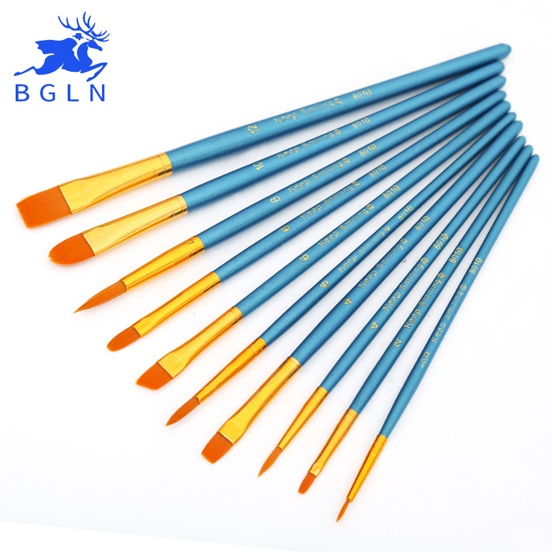 BGLN 10Pcs/Set Watercolor Gouache Paint Brushes Different Shape Round Pointed Tip Nylon Hair Painting Brush Set Art Supplies bgln 7pcs set mix hair nylon weasel hair professional watercolor paint brush watercolor painting brush stationery art supplies