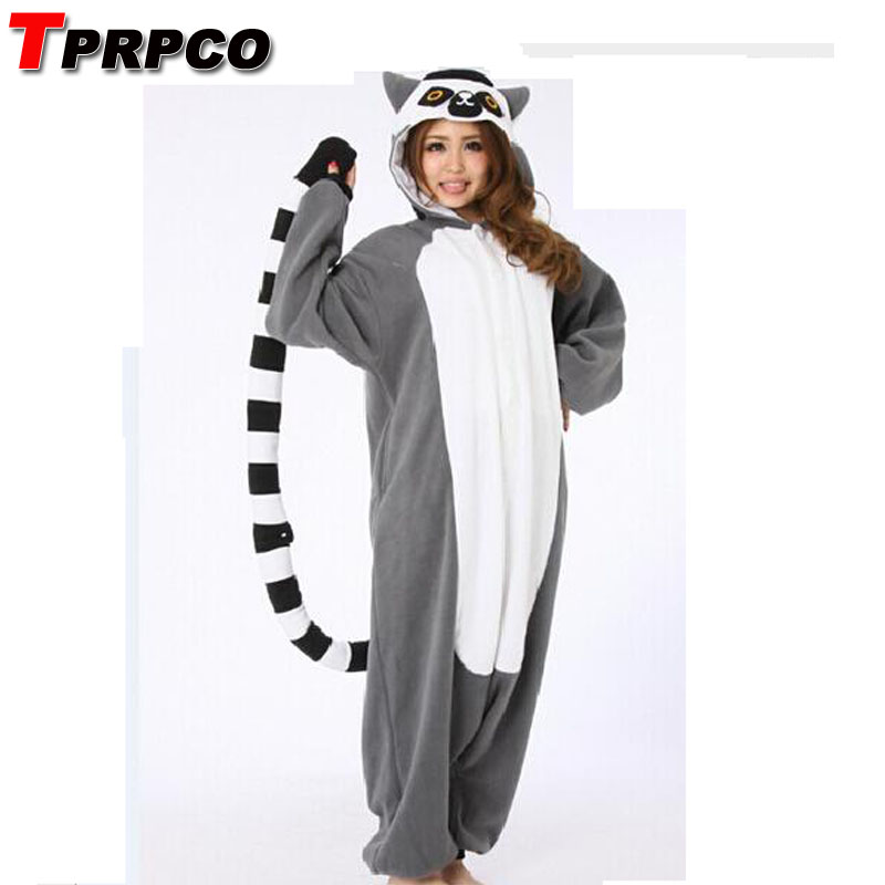 TPRPCO Adult Animal Onesie Lemur Long Tail Monkey Unisex Women Men's Pajamas Halloween Christmas Party Costumes NL168