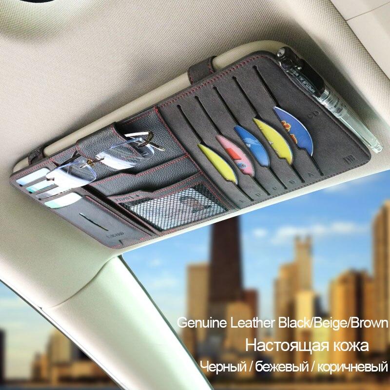 Diseño Original de cuero genuino organizador de coche funda de gafas de sol para coche soporte de almacenamiento para coche parasol tarjeta CD Pen Bag
