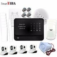 SmartYIBA Wi Fi сигнал GSM GPRS SMS Беспроводной сетевые камеры движения PIR сигнализации Дым двери/окно Сенсор сигнализации + 8 проводной зон