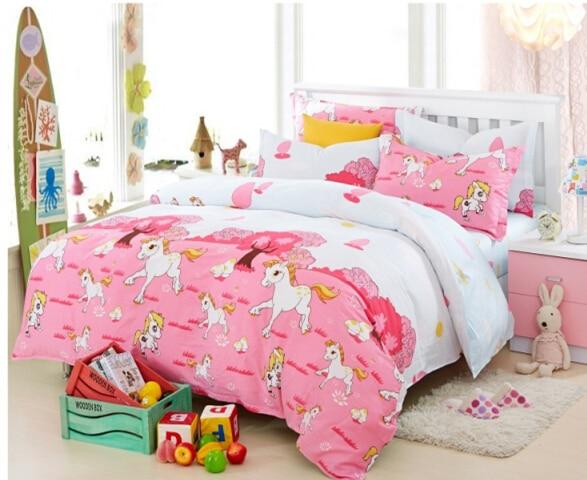 Girls Horse Comforter Sets Kids Pink Duvet Cover Blue