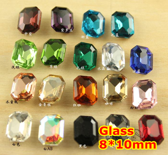 300Pcs 8*10mm Rectangle Octagon Crystal Fancy Stone Pointback Glass Foiled For Jewelry Making,Garment Use,weeding dress stones