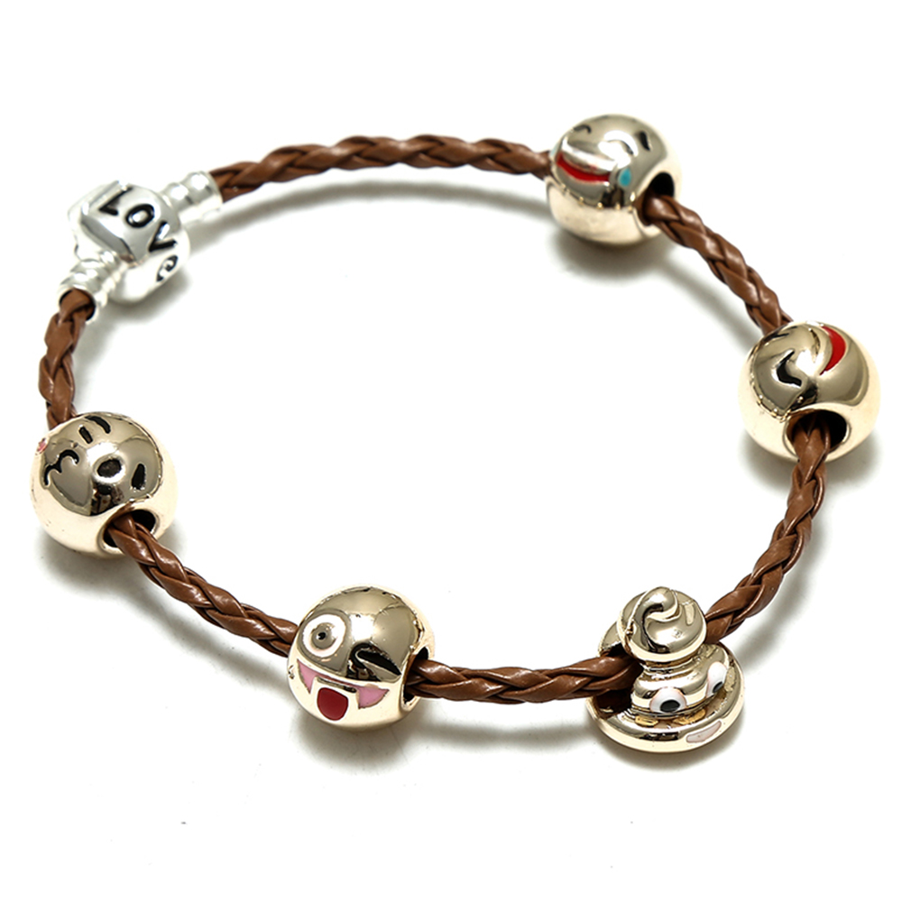 SPINNER Funny Expression DIY Charm Bracelet Personal Golden Beads Brand Bracelet for Women Jewelry Christmas New Year Gift
