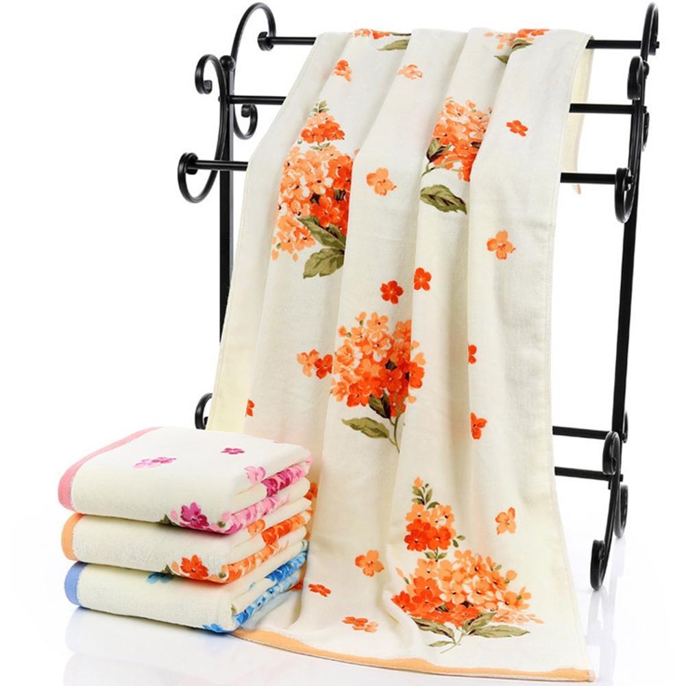 Adeeing 75x140cm Large Soft Cotton Bath Towel Peony Flower