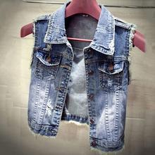 Новинка, хлопковая джинсовая женская куртка без рукавов, плюс размер, S-L, темно-синий джинсовый жилет, женский джинсовый жилет в ковбойском стиле, женские куртки s