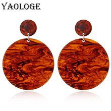 YAOLOGE Simple Acrylic Earring Big Round Pendant Colorful Earrings Geometry Bohemian Jewelry For Women Gifts Fashion Accessories