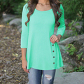 2016 Women's Casual Loose Button Irregular Hem Long Sleeve T-shirt Tops Shirt