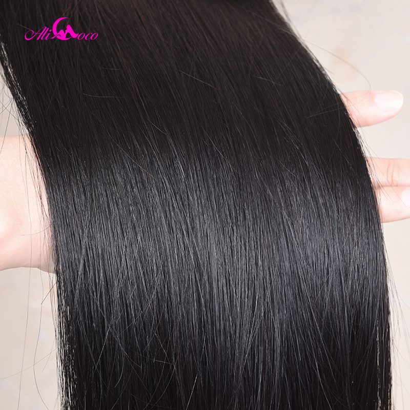 Image 5 - Mechones de cabello liso indio Ali Coco con cierre 30 pulgadas 32 34 36 38 mechones de cabello humano largo con cierre 100% cabello Remy-in Paquetes con cierre 3 / 4 from Extensiones de cabello y pelucas on AliExpress