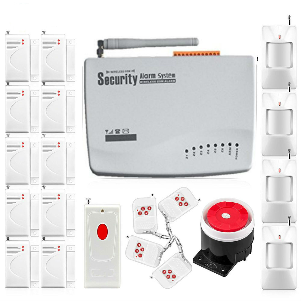 Cheap GSM Dual Antenna Home Voice Security Alarm 433Mhz Russian English Voice Remote Control PIR/Door Alarm Sensor Kit