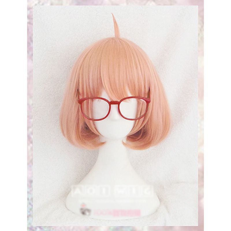 Kyokai No Kanata Kuriyama Mirai Short Orange Pink Synthetic Cosplay Hair Wig +Red Glasses+Wig Cap