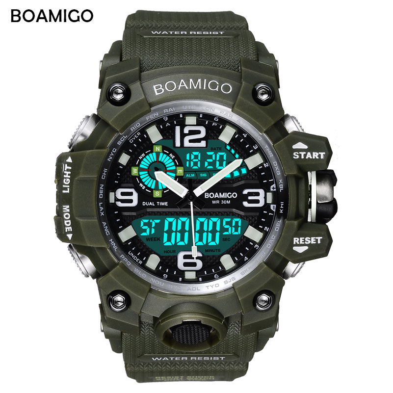 BOAMIGO Brand Men Sport Watches LED Digital Watches Military Green Wristwatches Waterproof Swim Quartz Watch relogio masculino