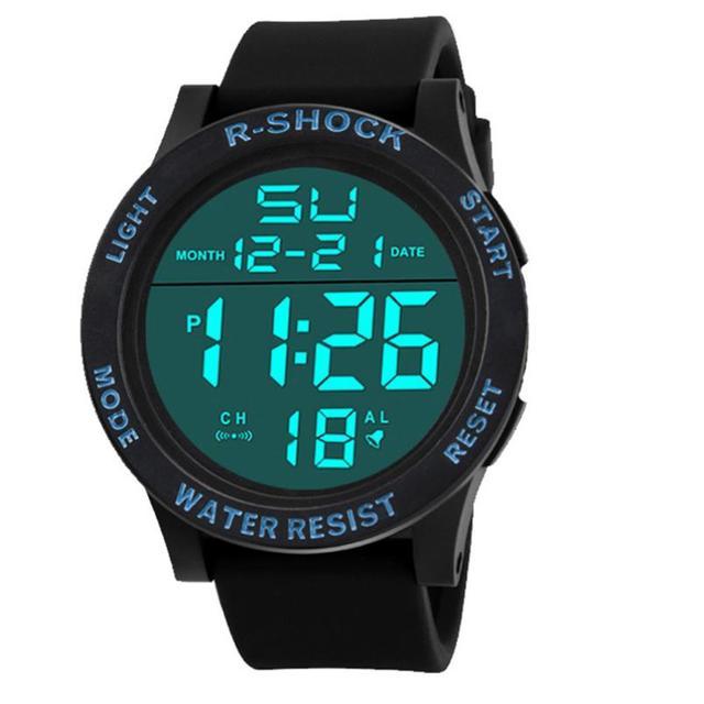 8c5be60a234 Relógio dos homens de moda À Prova D  Água Menino LCD Digital Data de  Borracha