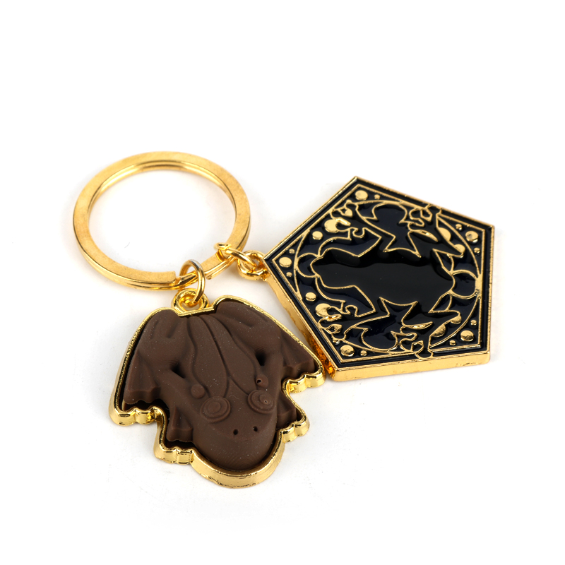 HP Chocolate Frog Gold Metal Pendant Keychain Hogwarts School Keyring Chain Ornament Cosplay Collection Jewelry Gift-30