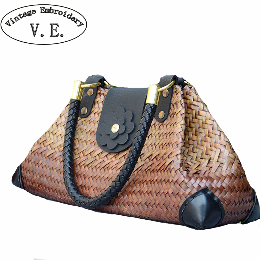 Boho Thailand Women Straw Bags Handmade Beach Bags Ladies Travel Handbags Weave Straw Beach Shoulder Bag Knitting Rattan Bags handmade flower appliques straw woven bulk bags trendy summer styles beach travel tote bags women beatiful handbags