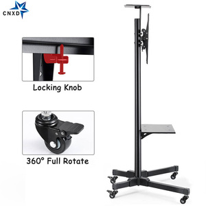 "Image 4 - Universal TV Cart Height Adjustable Mobile TV Trolley Stand for 32"" 65""LED LCD Plasma TV with Adjustable AV Shelf Camera Holder"