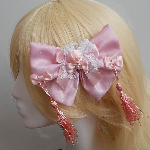 Pink Printed Bow and Tassel Decored Lolita Headdress /Hair Flower/Brooch