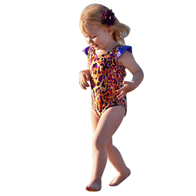 2017 One Piece Swimsuits Baby Kids Monokini Girls Cute Leopard Print