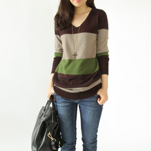Otoño Invierno suéter moda lana cachemir largo mujeres