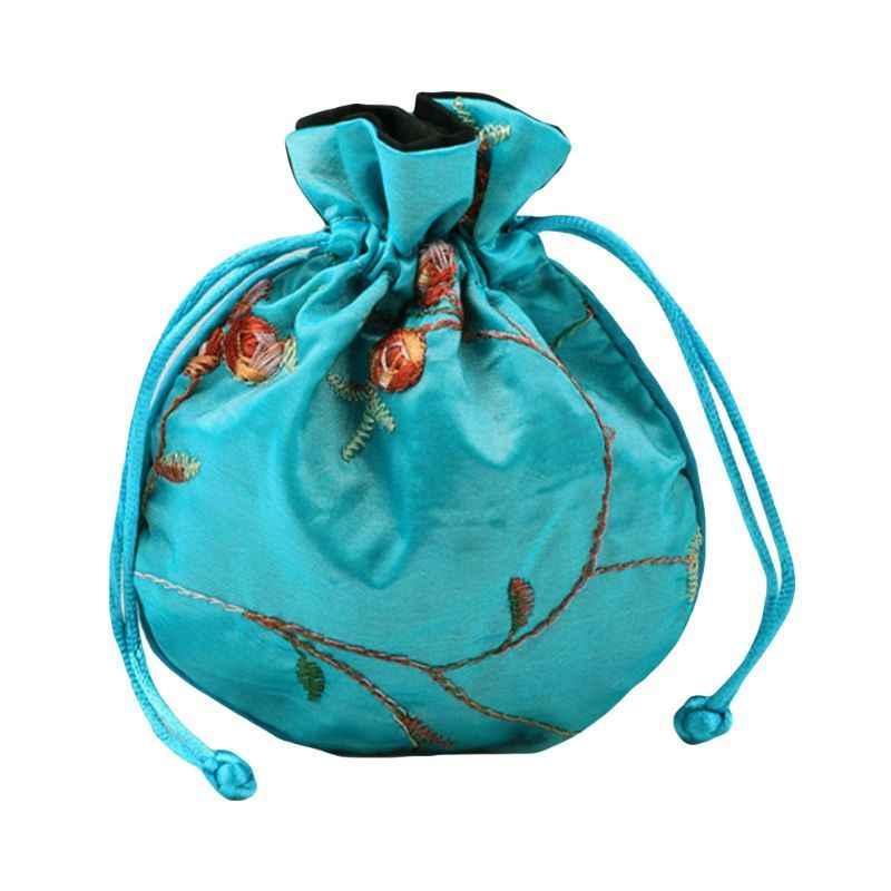 Calidad superior 1 Pza bolsa de viaje de seda bordado tradicional chino clásico bolsa de embalaje de joyería organizador bolsos