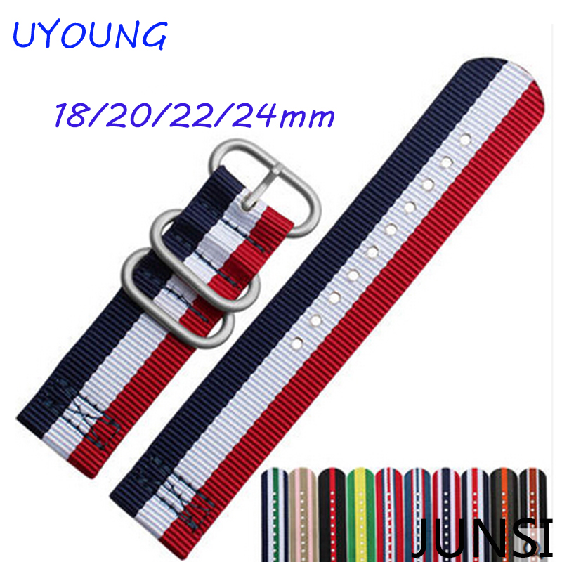 Wholesale 18mm20mm22mm24mm Multi Color Army Military nato fabric Nylon watchbands Strap Bands Buckle  wholesale stripe cambo solid black watch 22 mm multi color army military nato fabric nylon watchbands strap bands buckle 22mm