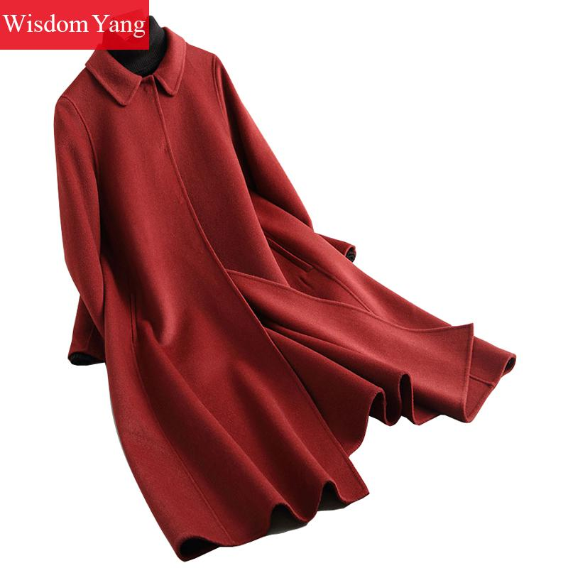 Winter Women Coat Red Yellwo Black Long Sleeve Sheep Wool Cloak Coats Ladies Elegant Trench Woolen Overcoats Abrigos Mujer 2018