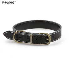 T-MENG Genuine Leather Pet Dog Collar Durable Chihuahua Small Adjustable Cat Necklace for Medium Large