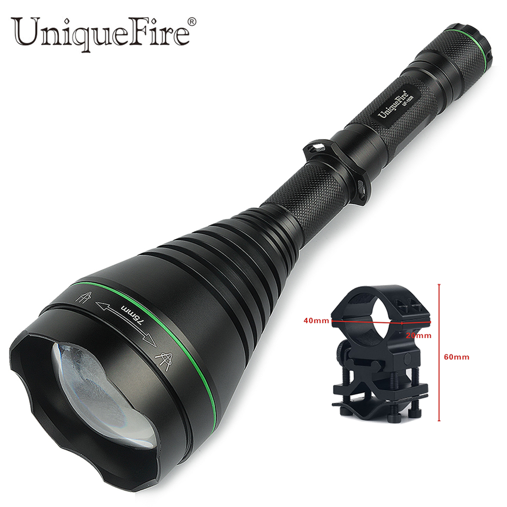 Uniquefire Led Flashlight UF-1508-940 75mm Lens Zoomable 3-Modes Night Vision Lantern18650 +Gun Mount uniquefire 1508 75 cree xml xml2 led flashlight torch 1200lm single file lantern 18650 adjustable focus for camping