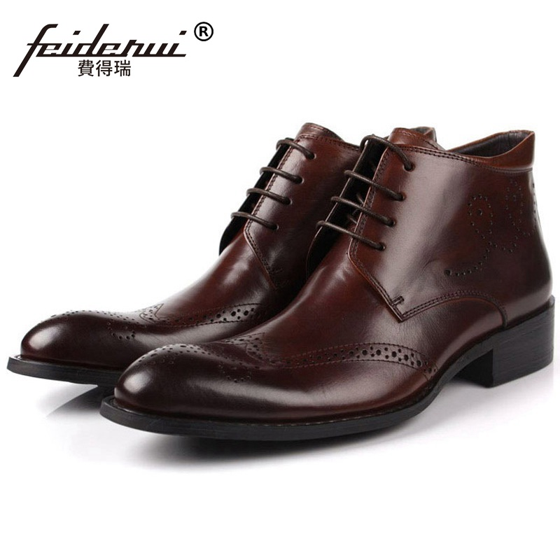 Luxury Man Wing Tip Carved Oxford Shoes Round Toe Genuine Leather Vintage Brogue Footwear Men's Cowboy Martin Ankle Boots LF79 krusdan luxury brand platform man handmad outdoor ankle boots genuine leather round toe classic men s cowboy martin shoes