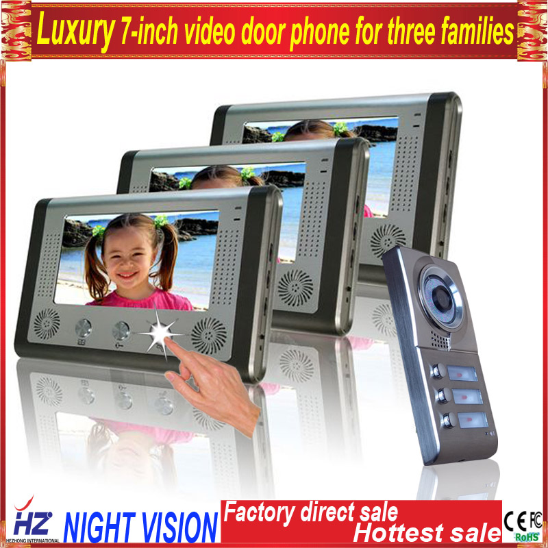Saful 7TFT-LCD video door phone for three families free disturb wired audio with night vision monitor doorbell hot sale 7 inch video doorbell tft lcd hd screen wired video doorphone for villa one monitor with one metal outdoor unit night vision
