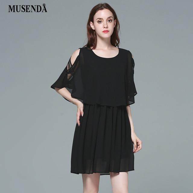 MUSENDA Plus Size Women Chiffon Off Shoulder Tunic Draped Black Short Dress  2017 Summer Sundress Lady fb89b56d8c9a