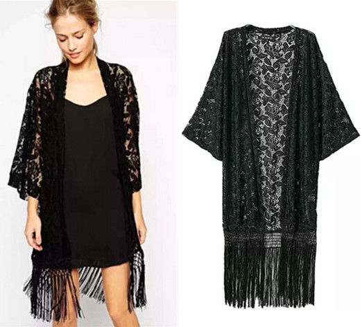 2015 Fashion Women Newest Vintage Black Lace Tassels Fringed ...