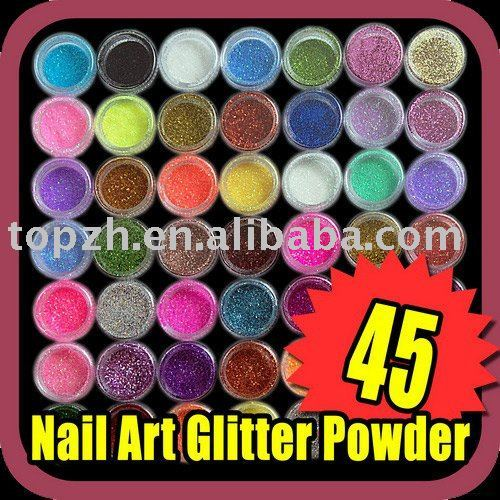 Best Selling Fast Shipping 45pcs/LOT 45 color Eye shadow Nail Art Glitter Powder DECORATION C040