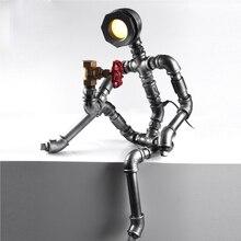 Robot Light Modern Industrial Pipe Light Led Desk Lamp Vintage Steampunk Coffee Bar Shop Loft Style