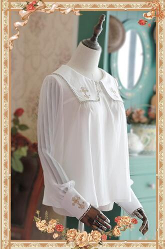 Alice My Fetish Store Sweet Cross Embroidered Chiffon Blouse Cute Illusion Long Sleeve Shirt for Women by Infanta