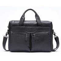 JHD Mva Handbag Shoulder Briefcase Leather Business Men'S Bag Leather Shoulder Bag