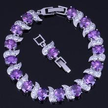 Glittering Oval Purple Cubic Zirconia White CZ 925 Sterling Silver Link Chain Bracelet 18cm 20cm For Women V0062