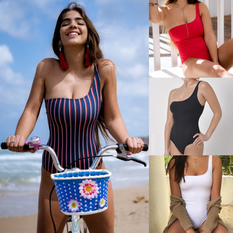 2018 Hot Sale Bodysuit Sexy High Cut Out Womens Sexy One Should 1 One Piece Swimsuit Women Swimwear Sexy Stripe Bathing Suit