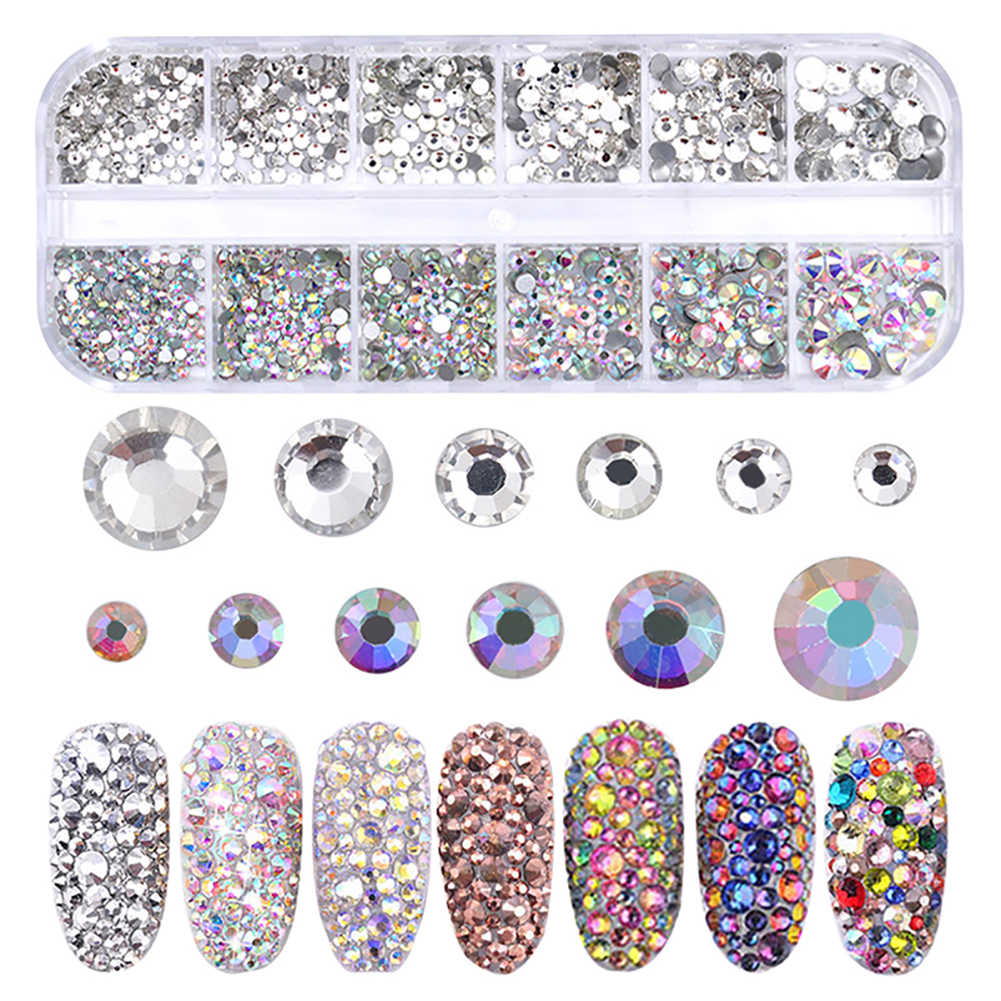 1 Box Multi Size Nail Rhinestones Colorful Flat-back Crystal Strass AB Color 3D Charm Gems DIY Manicure Nail Art Decorations